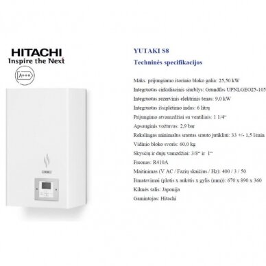 HITACHI YUTAKI S 20 kW be talpos trifazis šilumos siurblys 2