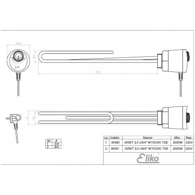 Kaitinimo elementas su termostatu, 3kW 2