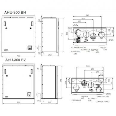 ENSY AHU-300BV/BH 275 m3/val. rekuperatorius su integruotu Wi-fi valdymo pultu spalvotu ekranu 3