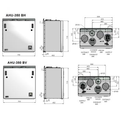 ENSY AHU-350BV/BH 400 m3/val. rekuperatorius su integruotu Wi-fi valdymo pultu spalvotu ekranu 3