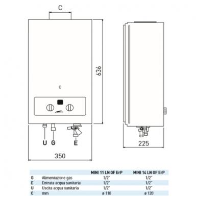 SIME MINI 11 LN OF ErP dujinė vandens šildymo kolonėlė 2